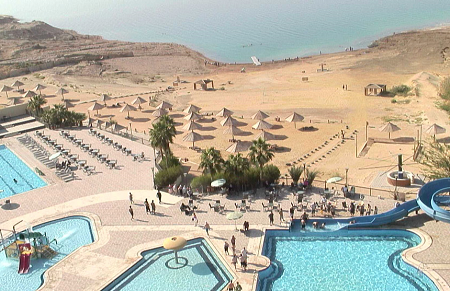 The coast of the Dead Sea in Jordan