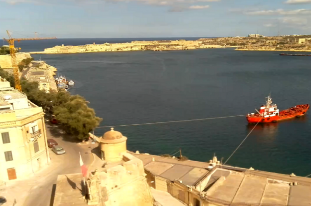 The Grand Harbour in Valletta on Malta from the British Hotel